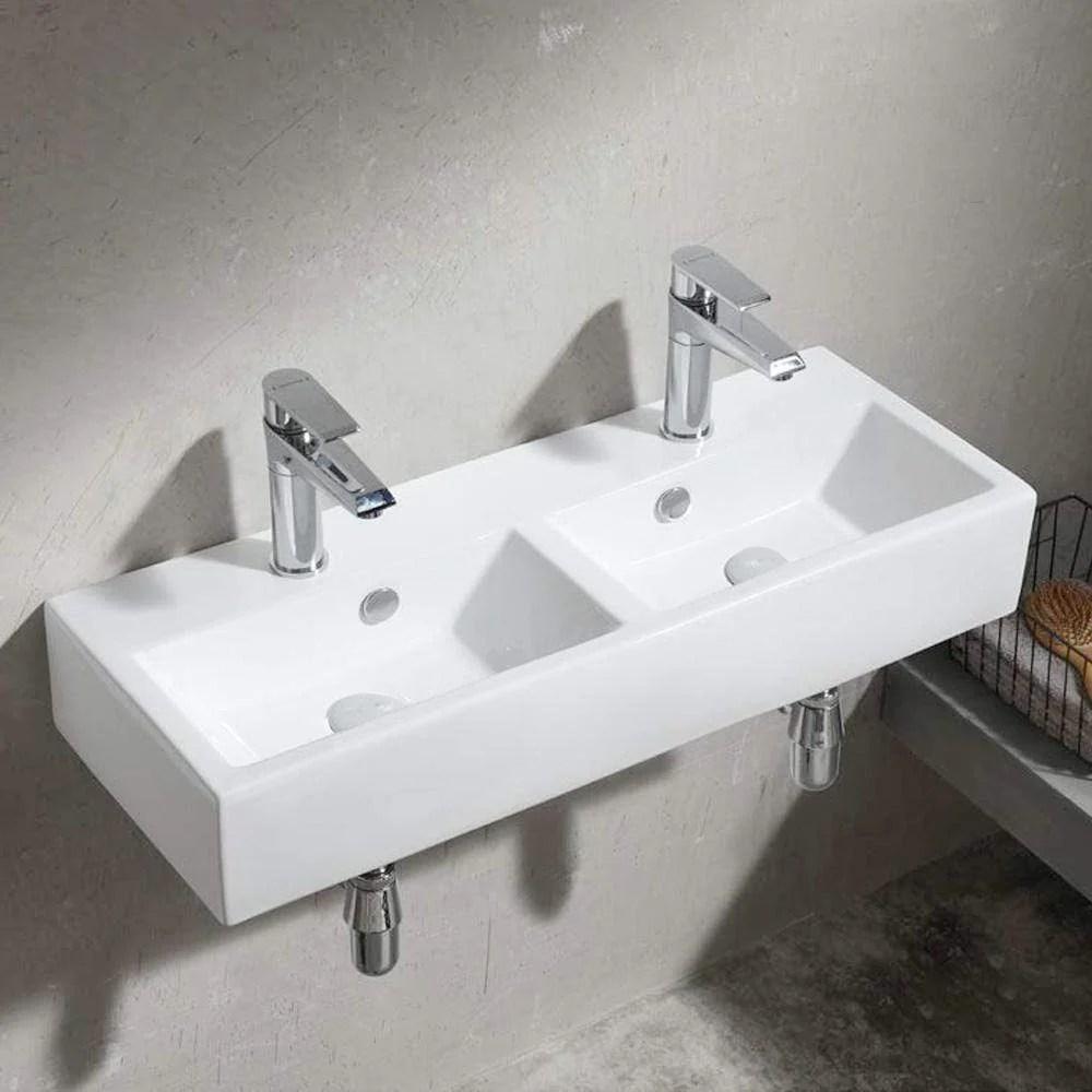 iola double bowl vitreous china wall mount bathroom sink