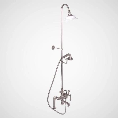 traditional deck mount tub faucet with riser and shower head