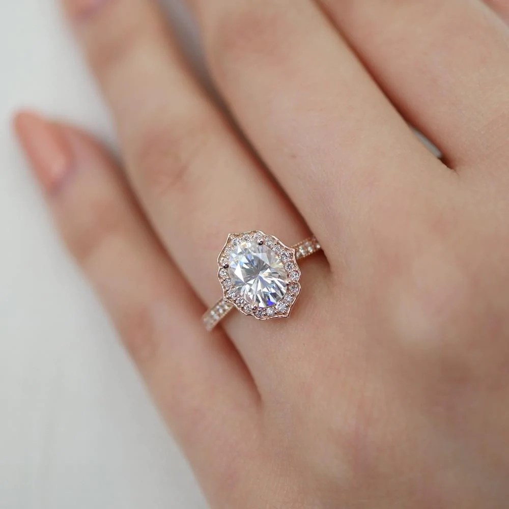 Vintage Floral Oval Ring in Milgrain Band w Forever One Moissanite and Diamond  La More Design