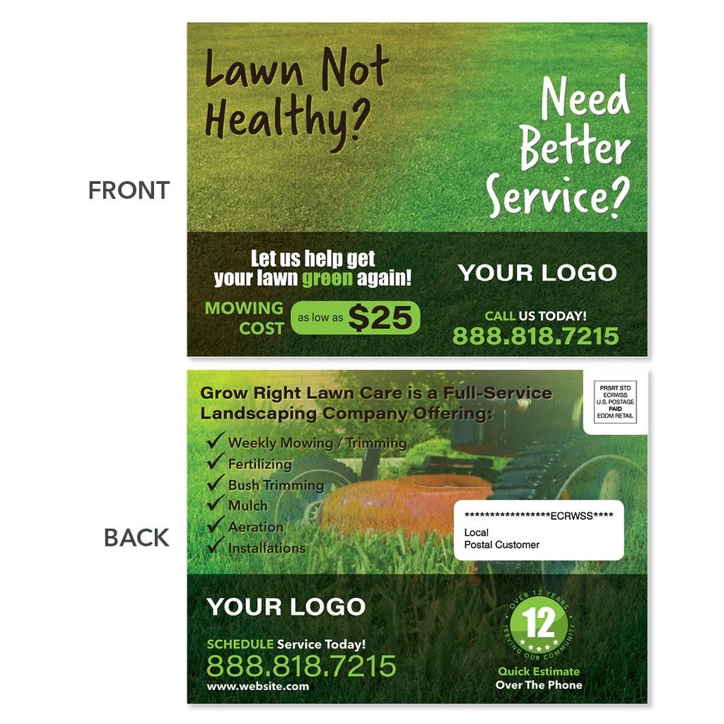 lawn care eddm postcards - design
