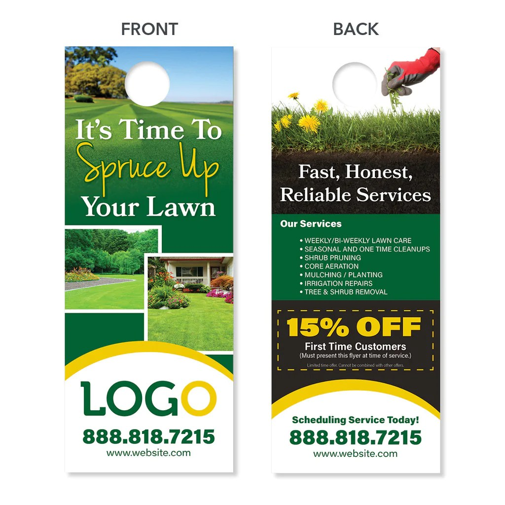 Lawn Care Door Hanger Designed & Printed FREE Shipping