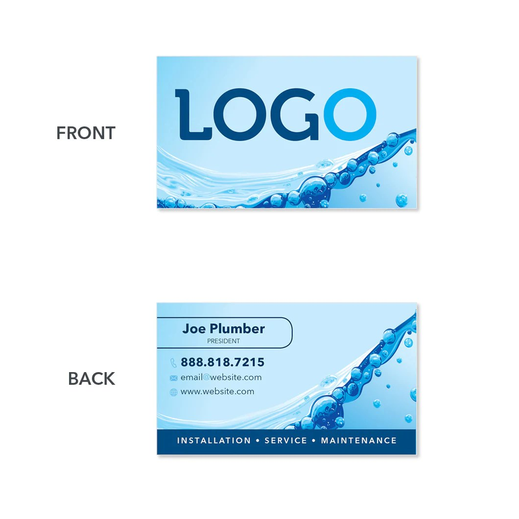 Plumbing Business Card Design Print Services Footbridge Marketing