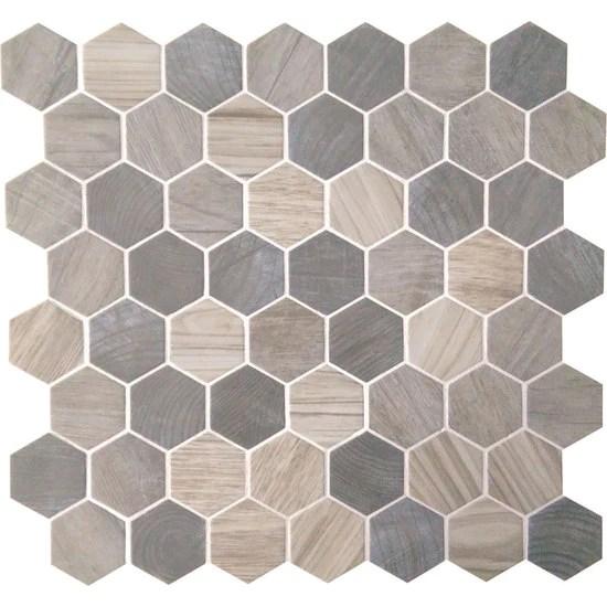 american olean crosswood 1 5 in glass hexagon mosaic pelican