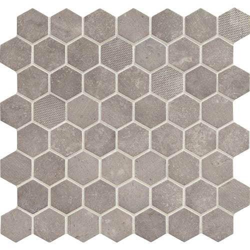 daltile vintage hex 1 in hexagon mosaic artifact gray