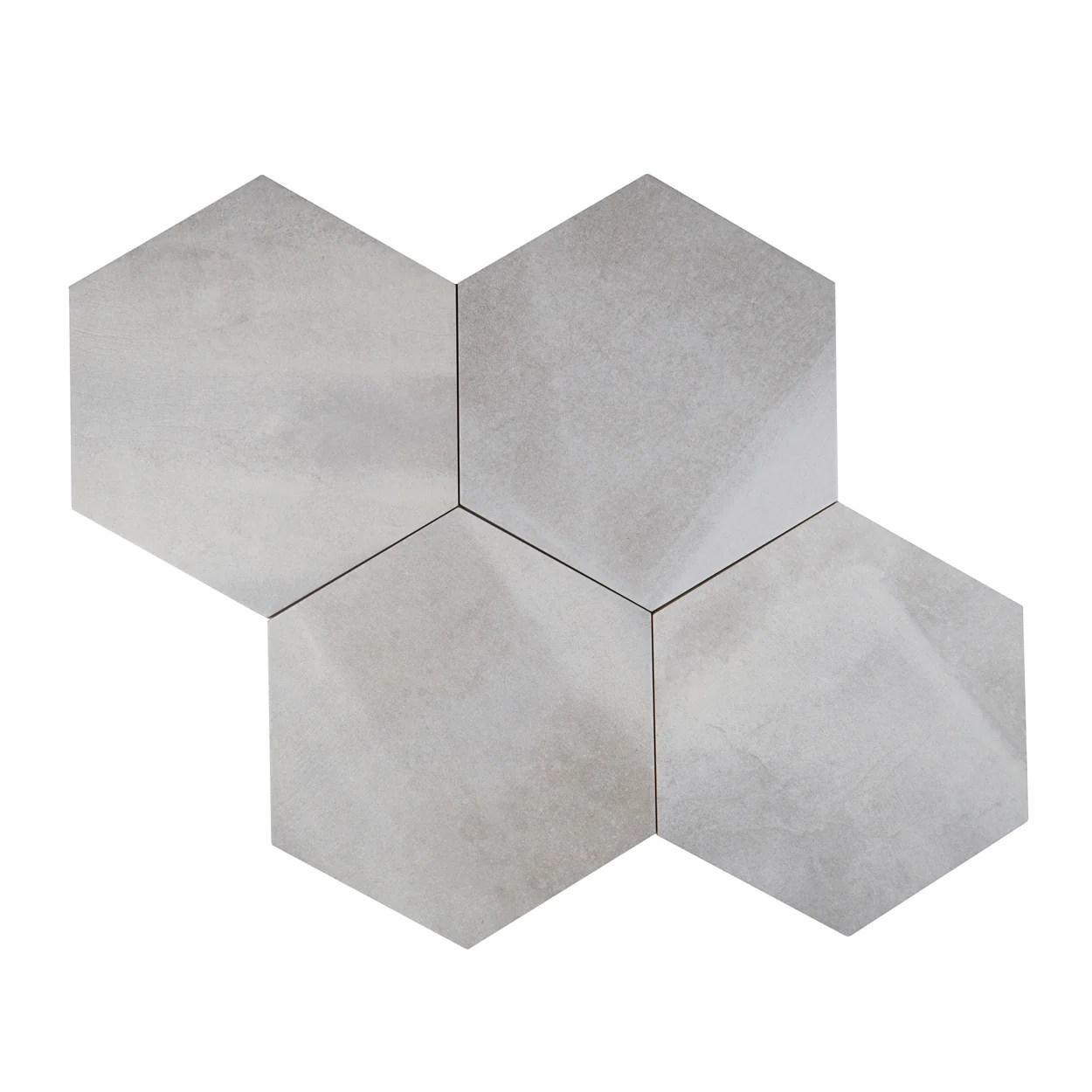 lungarno ceramics disk 14 in x 16 in porcelain hexagon tile grey