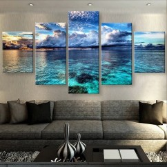 Metal Wall Art Decor For Living Room With 2 Couches And Chairs Calm Before The Storm Seascape 5 Piece Hq Canvas ...