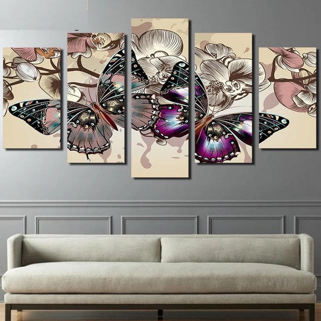 Butterflies Modern Abstract 5 Panel Canvas Wall Art Print