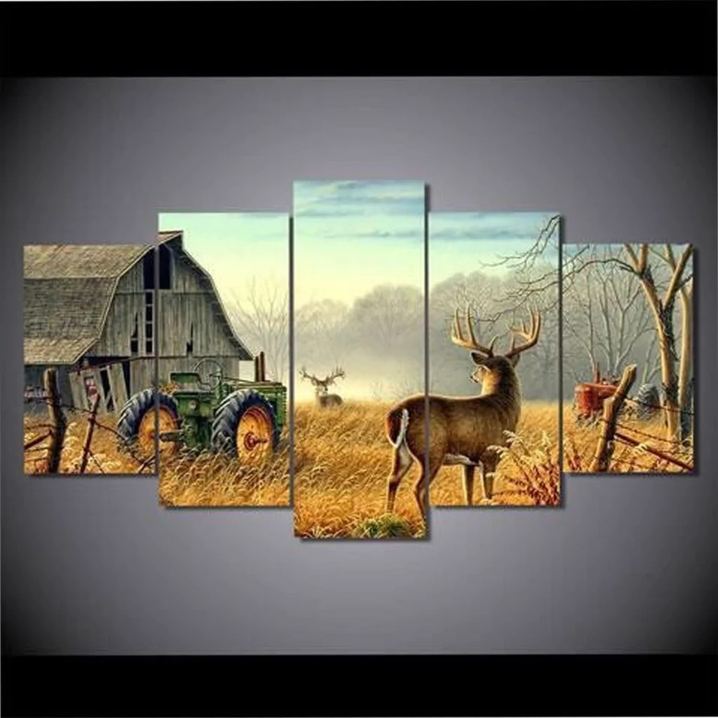 home decor small living room accent wall color ideas whitetail buck and monster deer 5 piece ...