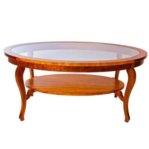 oval glass top coffee table with corbel shelf ovcftgls3