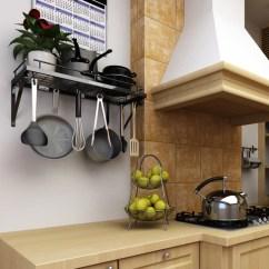 Kitchen Pot Racks Mission Style Hardware Wall Pan Rack Zesproka And Organizer Black