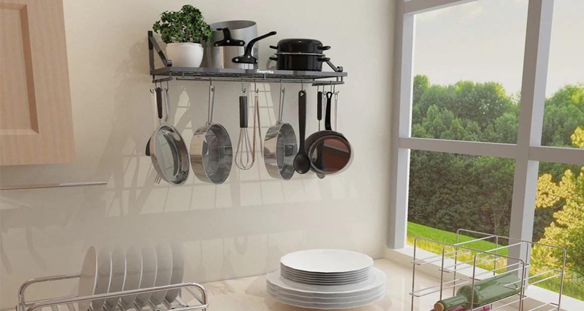 kitchen pot rack confidential audiobook wall pan zesproka organizer and black