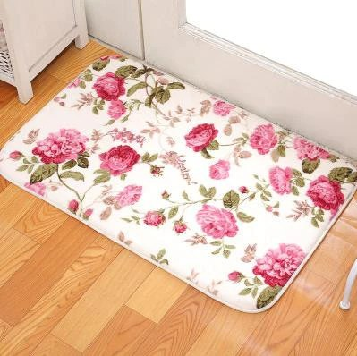 living room floor mats modern cabinet romantic floral sweet rose print carpets for coral fleece bathroom water rug 40cm 60cm
