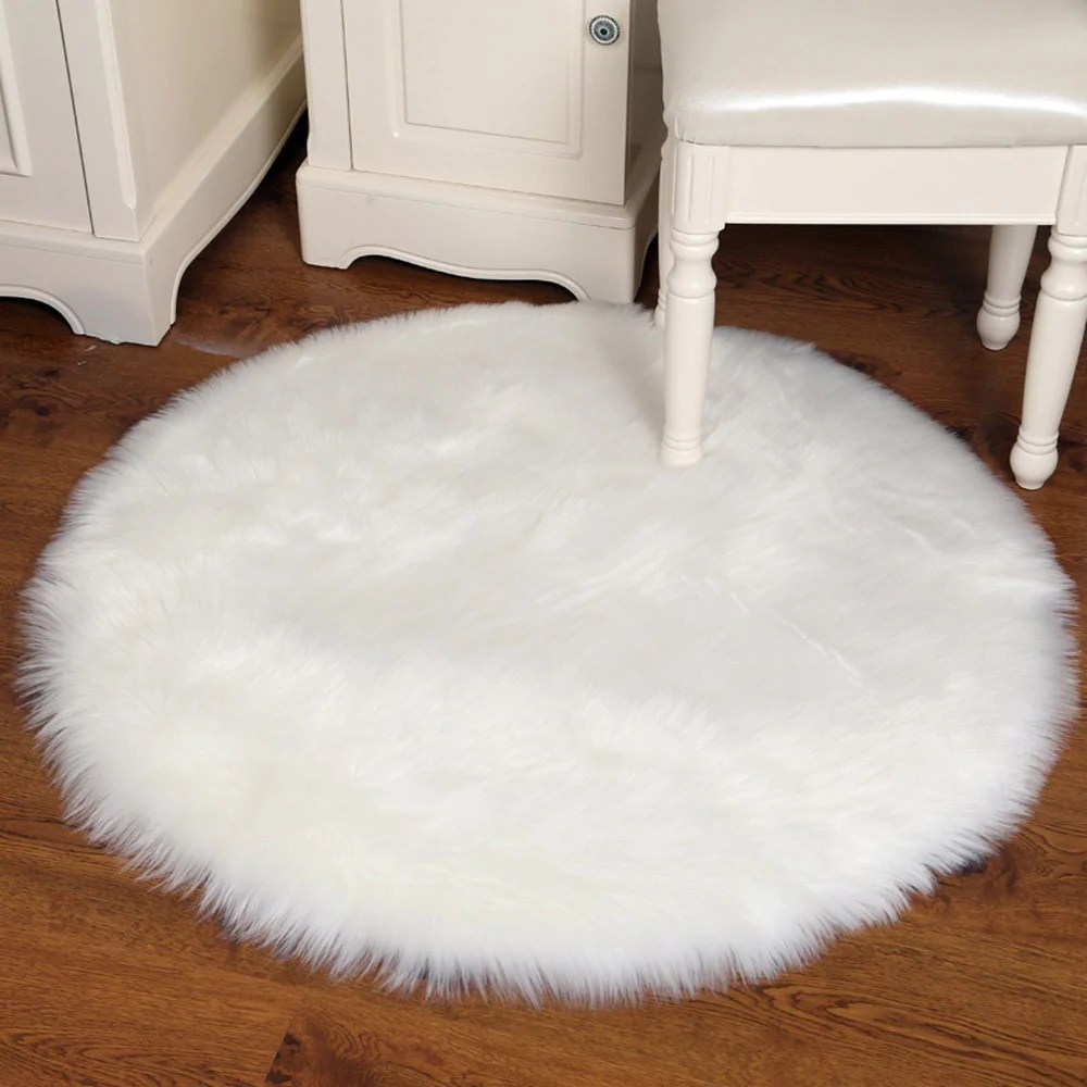 Sheepskin Chair Covers Soft Sheepskin Rug Chair Cover Artificial Wool Warm Hairy Carpet Bedroom Mat Seat Pad Skin Fur Area Rugs Warm Artificial Textile
