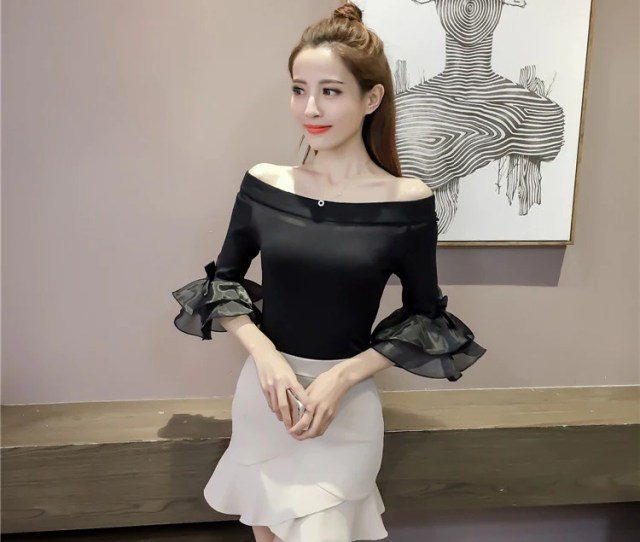Autumn Off Shoulder Cropped White Sweater Tops Women Slash Neck Sexy Korean Striped Flare Sleeve