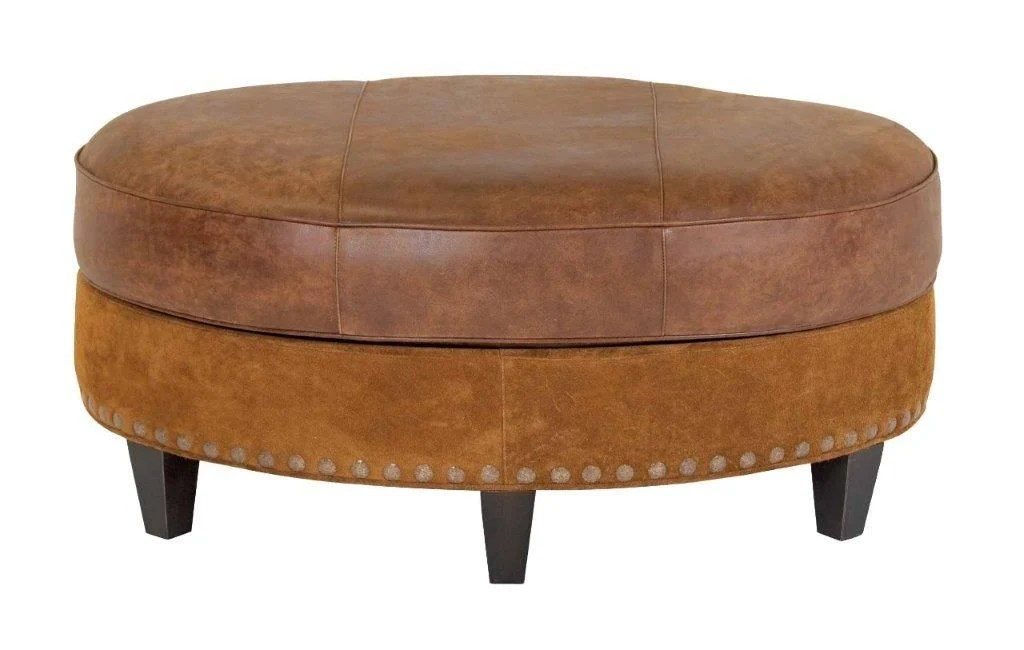 cameron 42 inch oval leather bench coffee table