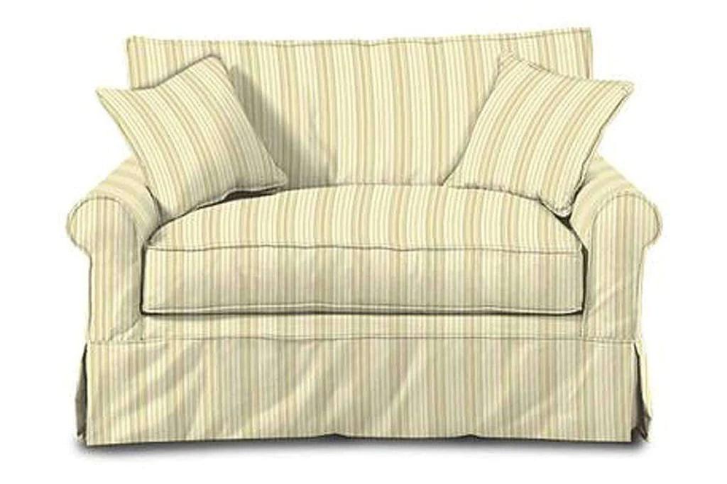 Brigid Designer Style Slipcovered Chair And A Half Twin Sleeper Sofa Club Furniture