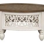 Emile Ii Glazed Distressed White Round Coffee Table With Heathered Bro