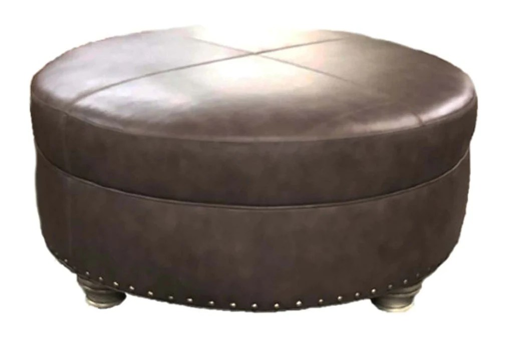 evan 36 40 44 or 48 inch round leather ottoman 4 sizes available