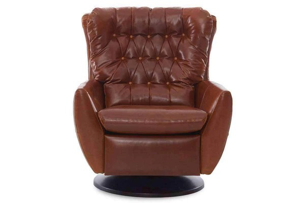 Garner Leather Swivel Recliner Chair with Round Base  Club Furniture