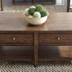 Harding Rectangular Brown Oak Plank Top Coffee Table With Two Drawers