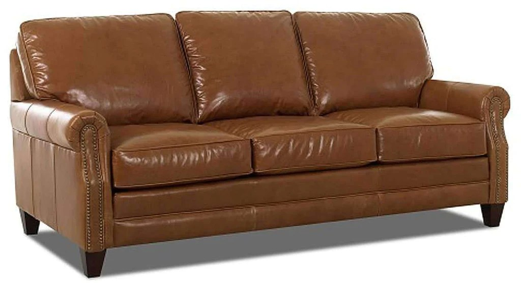 leather sleeper sofa with nailheads mauve throws oswald rolled arm set nailhead trim furniture queen