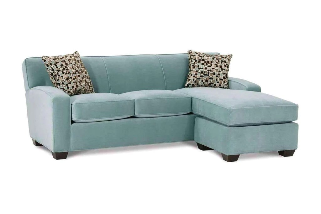 michelle designer style fabric apartment size reversible chaise sofa