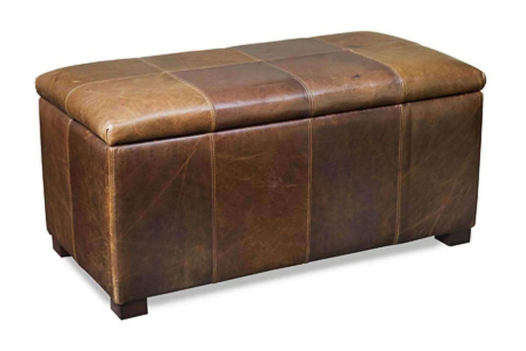 lyle 40 inch long leather upholstered patchwork chest ottoman with storage