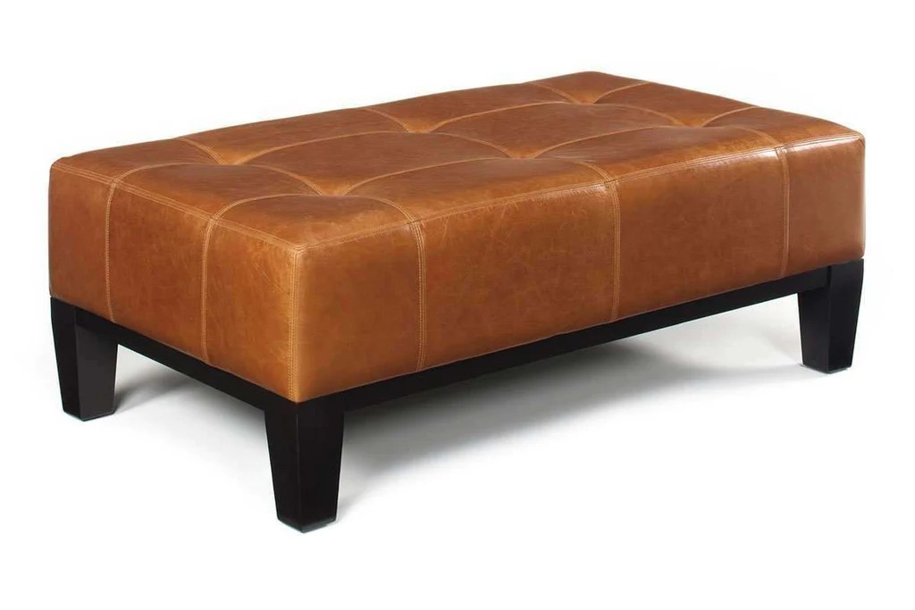 felix 51 inch long contemporary leather cocktail bench coffee table ottoman