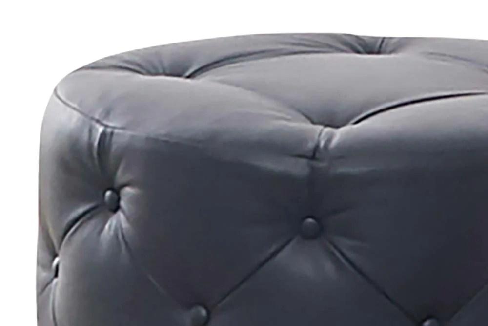 stanton leather 23 inch round ottoman