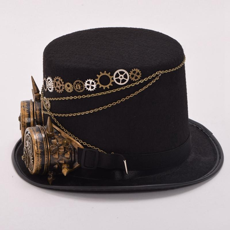 Steampunk Gears Floral Black Top Hat With Goggles