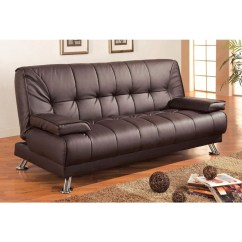Twin Sofa Bed Leather Cheap For Office Modern Futon Style Sleeper In Brown Faux Mason S