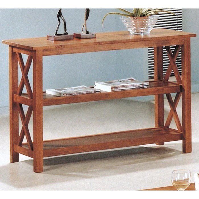 sofa console tables wood 3 2 leather deals brown table living room w shelves