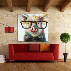 Modern Living Room Canvas Art Small Ideas Wooden Floors Hand Painted Pig Wearing Glassess Wall For Home Decor