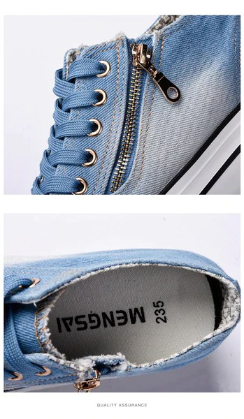Fashion Sneakers Jeans Plataforma