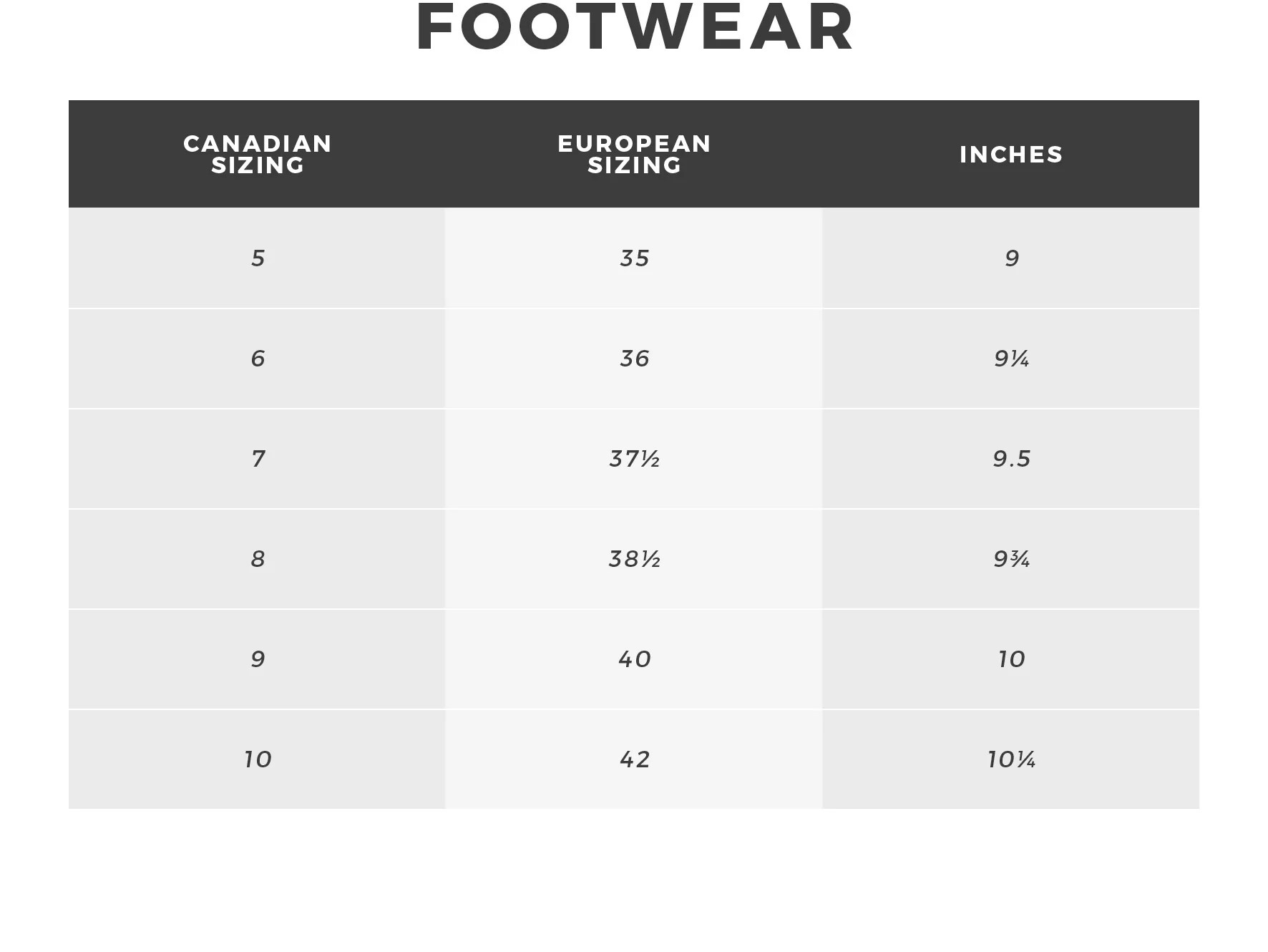 Urban planet women   footwear size guide also rh