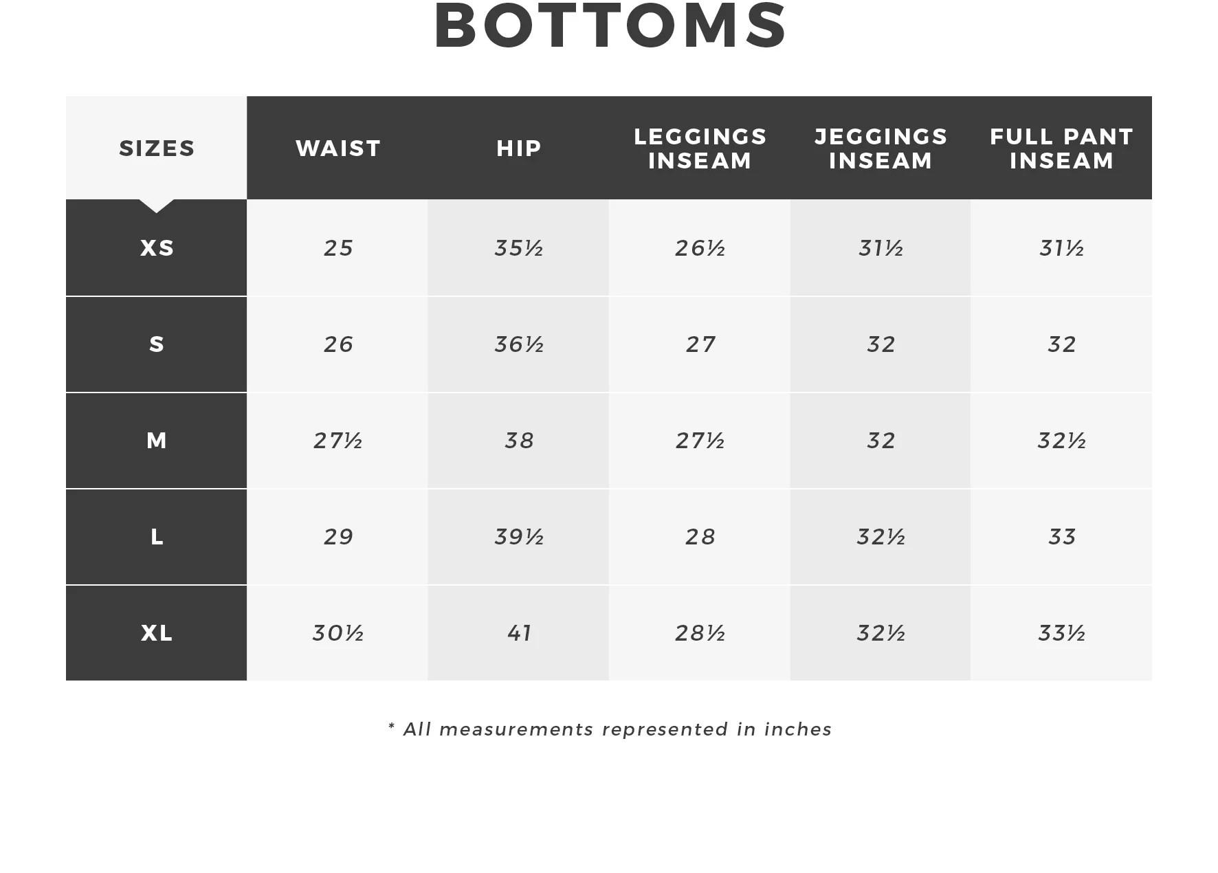 Urban planet women   bottoms size guide also rh