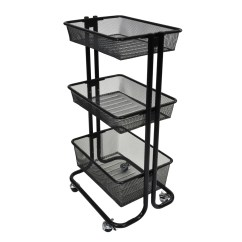 Rolling Cart For Kitchen Portable Counter Multipurpose Home Storage Utility Black F W Woolworth Co