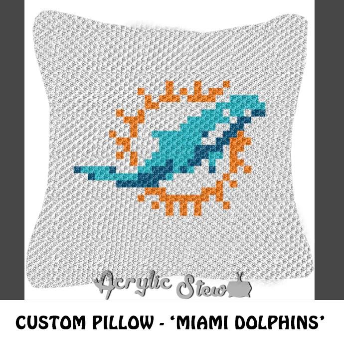 custom miami dolphins logo crochet pillow pattern c2c pillow pattern acrylic stew