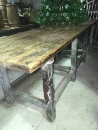 Vintage industrial Czech wooden workbench table #1550