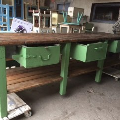 Kitchen Workbench Solid Wood Toy Vintage Industrial European Table Counter Island 2244