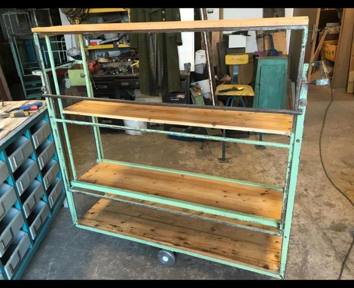 vintage industrial belgium bakers wooden metal rack 1 5 mt 2531