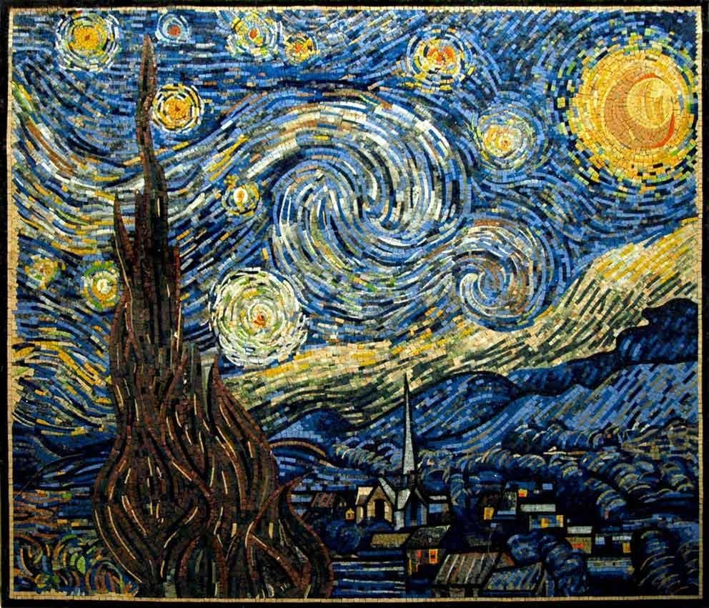 Vincent Van Gogh -starry Night Reproduction Mosaic Scenery Mozaico