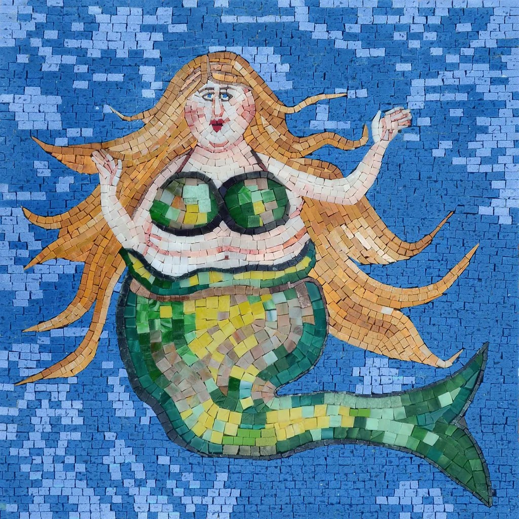 Mosaic Design - Green Mermaid Human Figures Mozaico