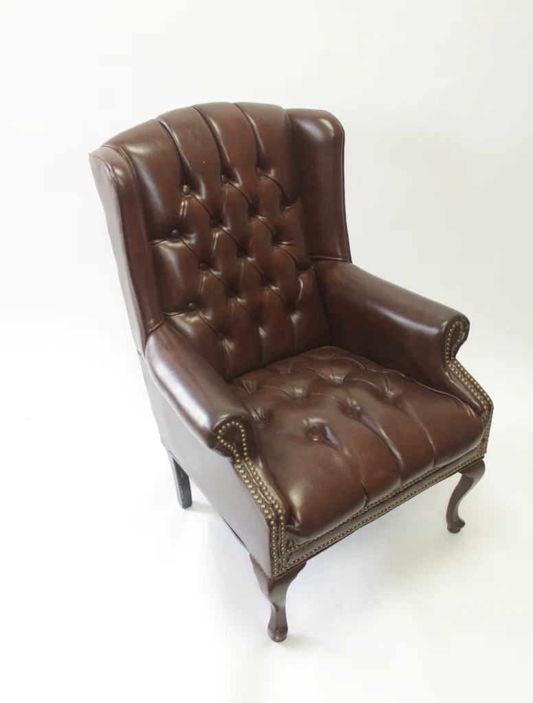 Brown Leather Wingback Chair Brown Leather Wingback Chairs With Nail Head Trim