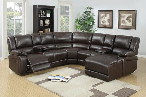 espresso leather sectional recliner