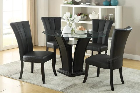 5 Pieces Round Glass 8mm Tempered Glass Table Dining Room Set In Black Vivi Furniture