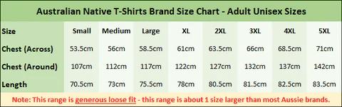 Australian native  shirts adult loose fit size chart also sizing charts  ts rh