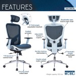 Techni Mobili High Back Executive Mesh Office Chair With Arms Headrest And Lumbar Support