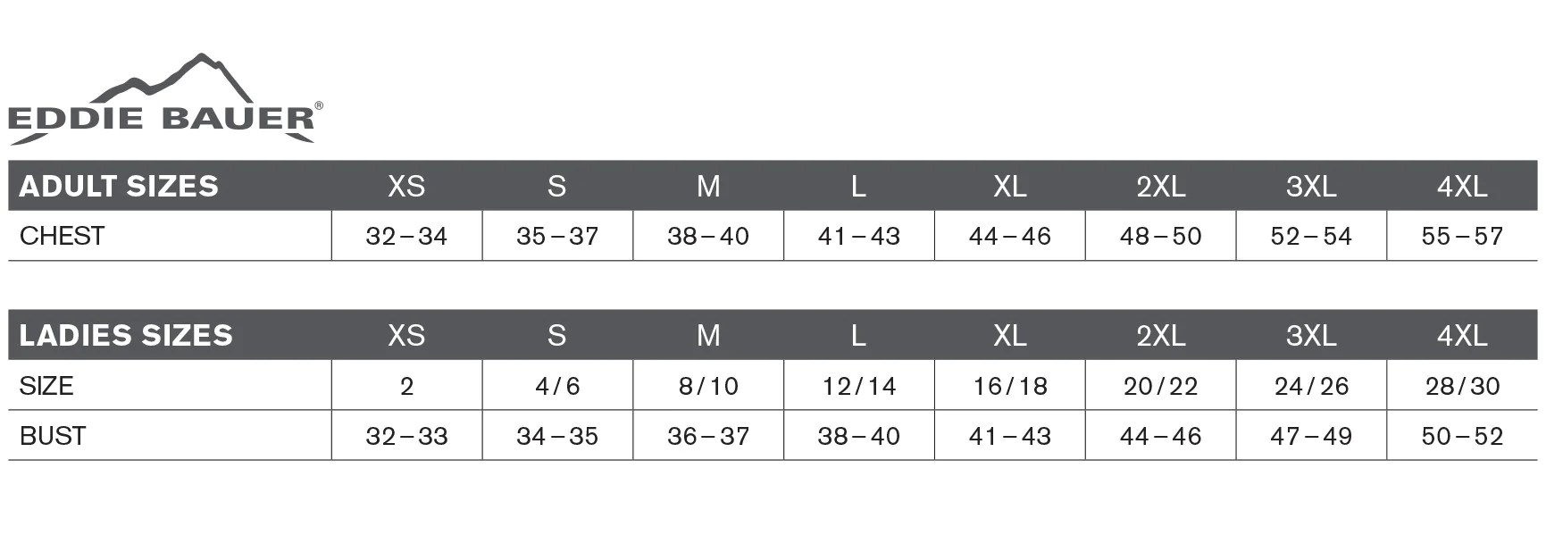 Eddie bauer size chart also  sbow store rh sbowstore