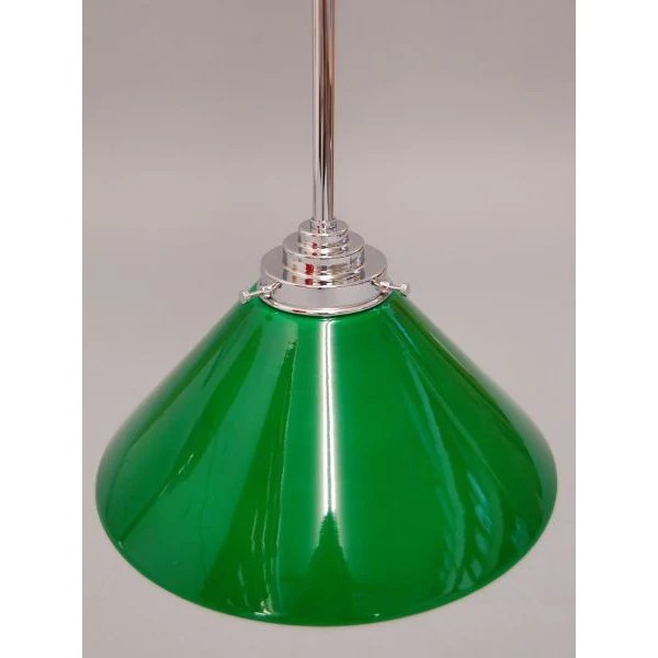 Art Deco Style Ceiling Pendant Light With Green Glass Coolie Lamp Shad Art Deco Lighting Company